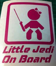 STAR WARS  LITTLE JEDI ON BOARD VINYL DECAL STICKER   PINK