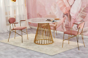 Round Marble Dining Table with Golden Chrome Legs 80/100/120cm Marble Effect Top