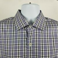 Peter Millar Mens Blue Gray Check Plaid Dress Button Shirt Sz XL Extra Large