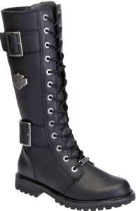 HARLEY-DAVIDSON FOOTWEAR Women's Tall Belhaven Black Leather Riding Boots D87082