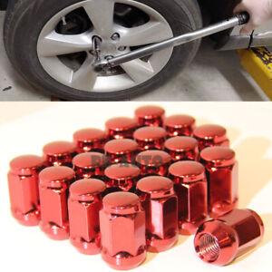 For Honda Toyota Mazda Lexus Silver 12X1.5MM Wheel Rim RED Lug Nut QTY = 20