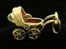 C034 Genuine 9K Solid Yellow Gold Detailed Movable Baby Pram Charm 3D + jumpring