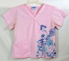 Landau Scrub Top Pink with Embroidery Floral Blue Turquoise