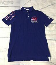 La Martina Men's  Polo League #3 Polo Shirt Blue Slim Fit short Sleeve Size M