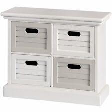 White Grey Wooden Stationery Desk Organiser Jewellery Storage Box 4 Drawer Unit