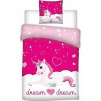 Unicorn Bedding Single Reversible Cover & Pillow Duvet cover Bright Pink