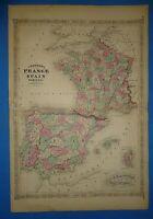 Vintage 1868 FRANCE - SPAIN - PORTUGAL Map Old Antique Original Johnson's Atlas
