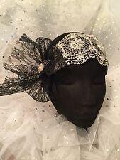 Handmade Headpiece,Formal, Races Etc. Brand New,Black Lace Champagne Rhinestone