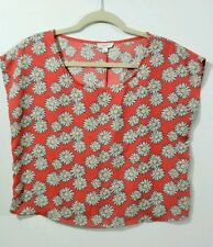 Mine Womens Top Size Large Sleeveless Dark Pink Daisies Cut-out Back