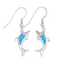 Dolphin Blue Fire Opal Silver for Women Jewelry Fashion Dangle Earrings OH4564