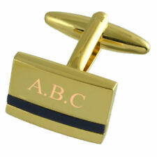 Blue Lapis Gold Cufflinks Engraved Personalised With Select Gift Pouch
