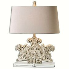 French Country Cottage Tuscan Stone Look Resin Ornate Table Lamp Crystal  Base