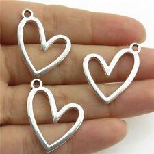 21144 35pcs Vintage Silver Alloy Smooth Blank Love Heart Pendant Findings Women