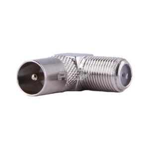 Conector Adaptador Coaxial Macho a Tipo F Hembra con Rosca en Angulo de 90º v583