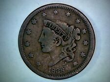 1838 CORONET HEAD UNITED STATES LARGE CENT, 178 YEAR OLD COPPER CENT.