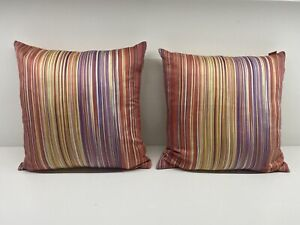 """PAIR TWO (2) MISSONI HOME STRIPED DUCK FEATHER THROW PILLOW 16"""" X 16"""""""