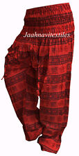 INDIAN BAGGY GYPSY HAREM PANTS YOGA MEN WOMEN RED OM PRINT DANCE COTTON TROUSERS