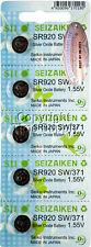 5 pc 371 Seiko Seizaiken Watch Batteries SR920SW FREE SHIP 0% MERCURY