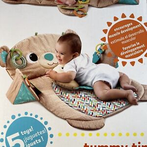 Bright Starts Tummy Time Prop & Play, Teddy Bear Tan and Blue Baby NEW