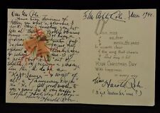 HAROLD ROBE (d.1946) 1900s LYRICIST SIGNED CHRISTMAS  CARD TO ASHLEY T. COLE COA