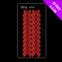 20x Mini Red Flocked Bows Christmas Bows Bow Clips Christmas Tree Decorations
