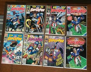 NFL Superpro Comics (Lot of 8) Marvel Super Bowl Special Edition Great Condition