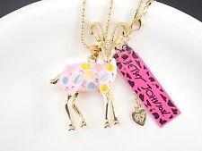 Betsey Johnson fashion jewelry Rhinestones pink sheep pendant necklace # B053