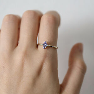 Solitaire Marquise Tanzanite Ring Wedding Engagement Stacking Minimalist Ring