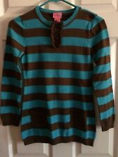 Girl's/Children's Long Sleeve Sweater Size Large Brown & Teal Stripes J. Khaiki