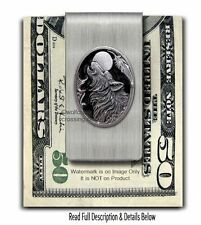 MIDNIGHT MOON WILD WOLF STAINLESS STEEL MONEY CLIP - WOLVES NATURE GIFT SALE Es'