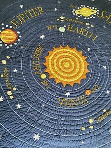 Land Of Nod Crate & Barrel Solar System Full/Queen Quilt Embroidered Cotton