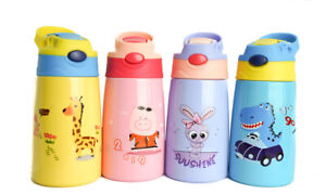 Cartoon Kids Vacuum Flask Glass Liner Coffee Water Bottle Thermos Cup 350ML Gift