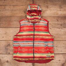 "Vintage para hombres Polo Ralph Lauren Chaleco Chaleco Chaqueta Con Capucha Rojo Azteca XL 48"" R14078"
