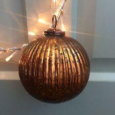 Groß Dunkel Kupfer Rund Gerippt Glas Spielerei, Vintage Weihnachtsdekoration