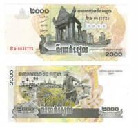 CAMBODIA UNC 2000 Riel Banknote (2007) P-59 Paper Money
