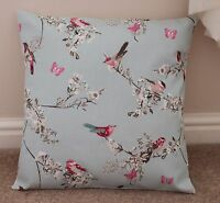 "BEAUTIFUL BIRDS CUSHION COVER 16 X 16"" HANDMADE DUCK EGG BLUE"