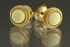 White Genuine BALTIC AMBER Gold Plated Silver Stud Earrings 1.1g 180611-17