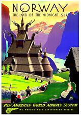 La Norvège A3 vintage rétro travel & chemins de fer posters print # 3