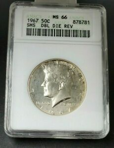 1967 SMS P SILVER KENNEDY HALF DOLLAR ANACS MS66 DDR Double Die Reverse