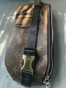 Supreme LV Waist Bag Buckle Adjustable Strap Authentic Leather Brown