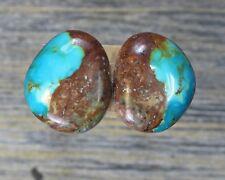 Turquoise cabochon Kingman  mine cab Earring set  Unique  ,C-174