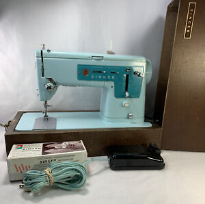 Vintage Singer Sewing Machine 347 Robins Egg Blue For Parts Repair decor read