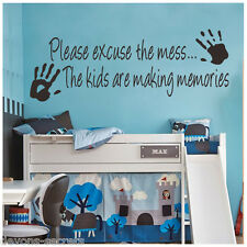 Wall decal stickers kids child excuse the mess playroom sign making memories DC1