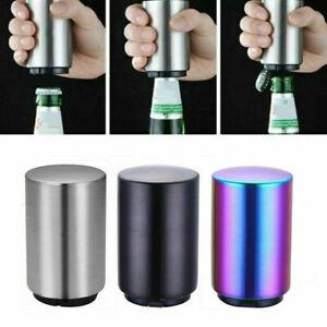 UK Magnetic Automatic Beer Bottle Cap Opener Stainless Down Opener Steel Push