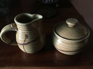 CLAY STONEWARE SUGAR & CREAMER   GLAZED