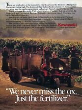 1987 Kawasaki Bayou Quad Monks in a Wine Vinyard Four Wheeler Print Ad