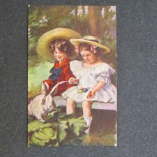 """2-Bit Postcards-A20a """"Easter Magic"""" Embossed Little Girls Bunny Easter Eggs"""