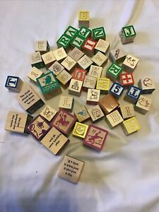 Wooden Blocks Craft Nursery Rhythm Alphabet Numbers Learning Decorate Lot of 52