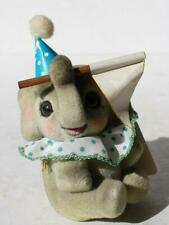 Elephant Figurine Josef Originals George Good Flocked Furry Made in Japan-Flag
