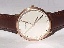 BERING Time Men's Quartz Watch With Black Dial Analogue Display and Gold Leather
